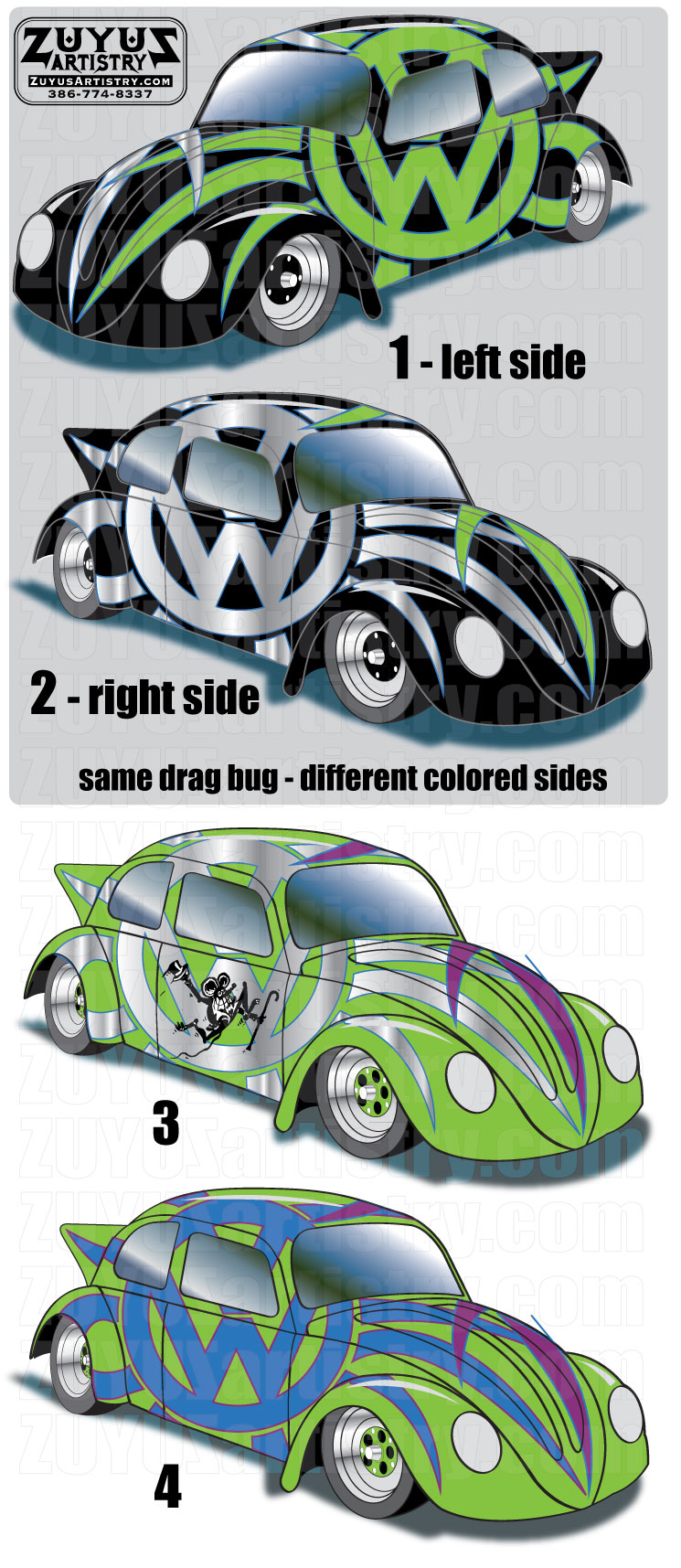 Vw bug drag car rendering on vw beetle logo