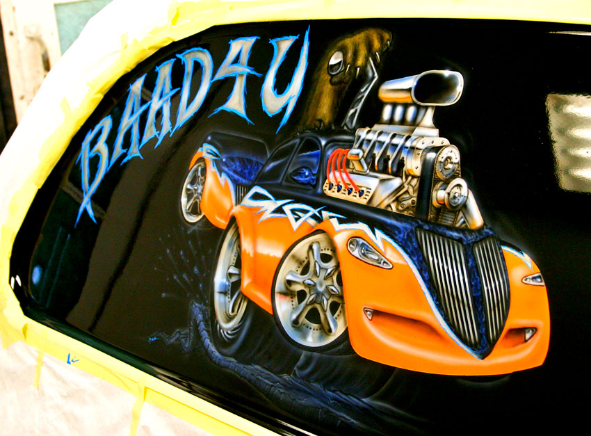 Motorhead custom auto rendering for Airbrush car mural